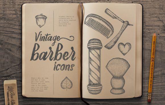 """Vintage """"Barber"""" vektorové ilustrácie"""