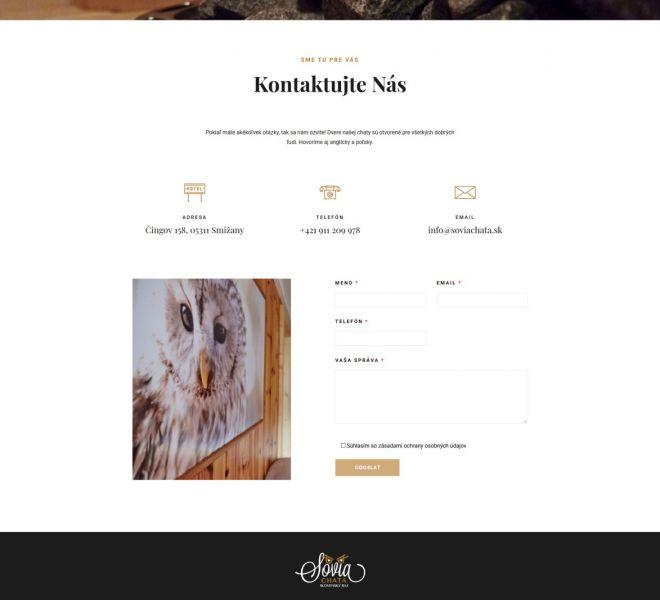 Hotelová web stránka - kontaktný formulár