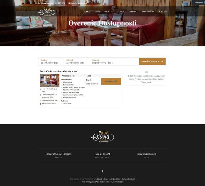 Hotelová web stránka - overenie dostupnosti
