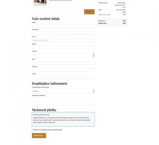 Hotelová web stránka - potvrdenie rezervácie
