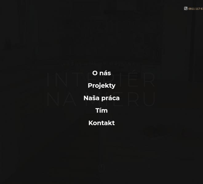 redizajn web stránky pre interiérové štúdio menu