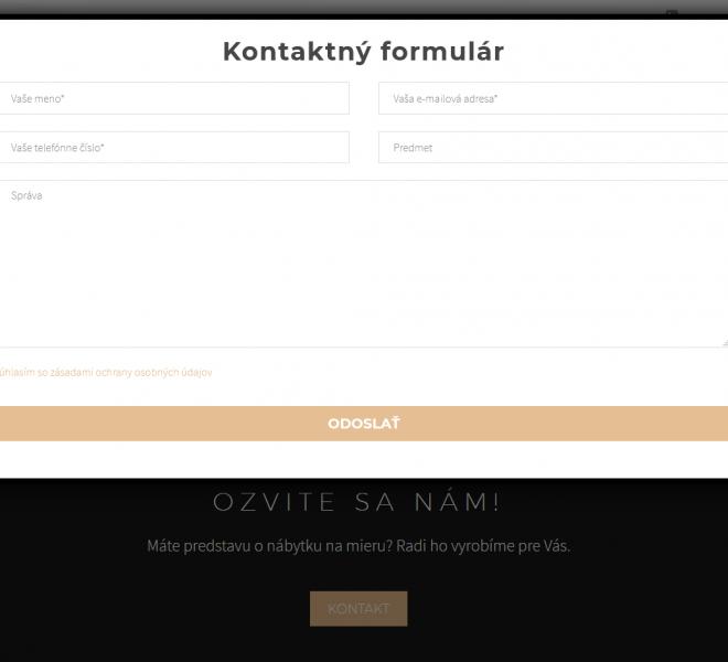 redizajn web stránky pre interiérové štúdio kontaktný formulár